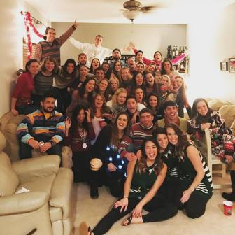 First years celebrate the end of their first semester with an Ugly Sweater Party!
