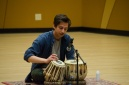 Second year Jake Haener played two original compositions on Indian Tabla drums (PC: Aj Davies)